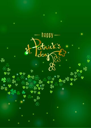 Happy St. Patricks day gold lettering  on dark green clover shamrock leaves background. Abstract Irish holiday backdrop for greeting cards design. Vector illustration Çizim