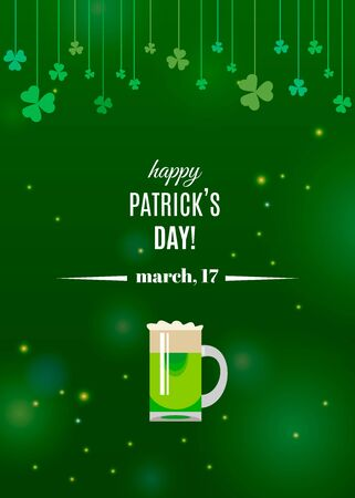 Happy St. Patricks Day poster template with clover shamrock leaves on strings and glass of Irish green beer. Vector illustration for Ireland holiday design. Spring green background Çizim