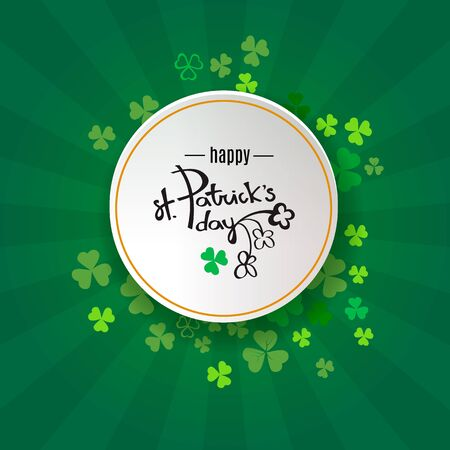 St Patrick's Day background.  Retro poster design with shamrock Ireland symbol. Green clover border and round frame for spring concept. Irish doodle logo header for web. Vector illustration Stok Fotoğraf - 133670080