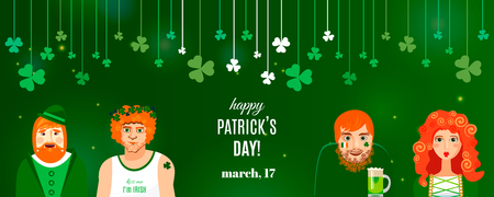 Concept shamrock banner template for St. Patrick's day design. White lettering logo, clover on strings and Irish characters on green background: funny redhead modern Irishmen drinking in pub. Vector Stok Fotoğraf - 125796207