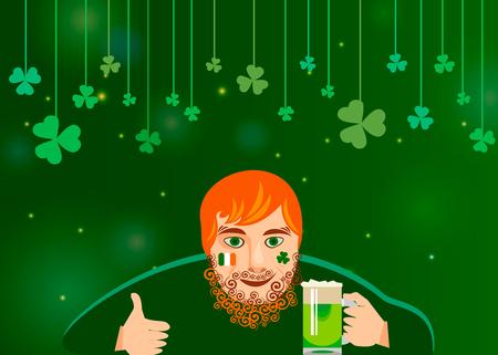 St Patricks Day concept. Funny redhead modern Irishman drinking green beer. Vector illustration