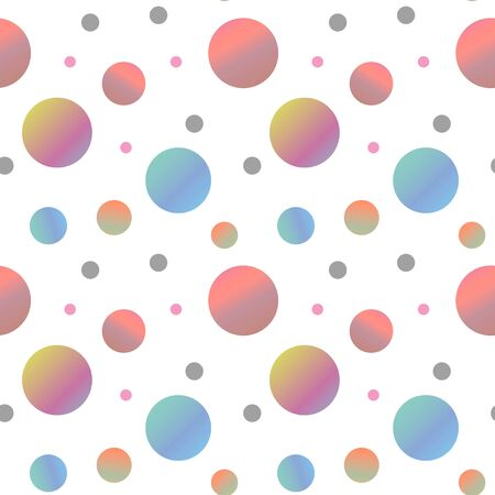 Abstract seamless polka dot cute pattern. Vector illustration for cool baby summer design. Color dots isolated on white background