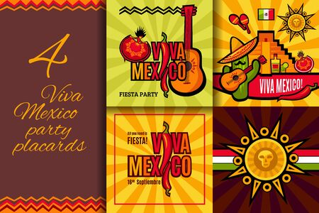 Viva Mexico party placards set. Mexican Independence concept banner collection for your holiday design. Vector illustration