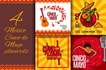 Mexico party Cinco de Mayo placards set. Mexican holiday bright concept banner collection for your design. Vector illustration