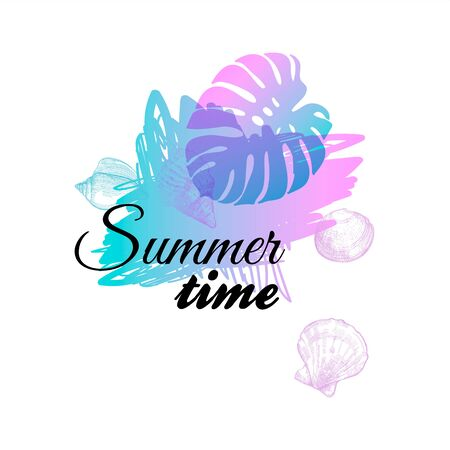 Doodle neon summer time print template on beautiful fluid color spot. Vector illustration with ocean underwater life and monstera palm leaf. Modern trendy design for tee print. Summer time banner Çizim