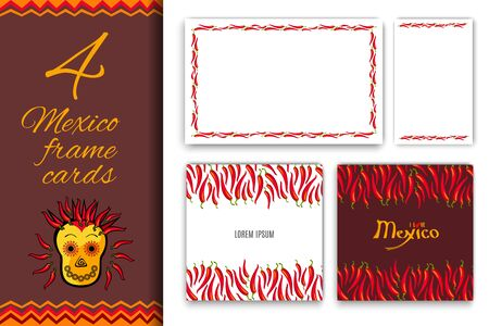 Collection for Mexico Red hot chili peppers frame border with your text place. Abstract Cinco de Mayo background for your greeting cards design or poster. Vector illustration Stok Fotoğraf - 131599842