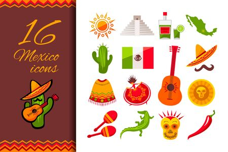 Mexico flat icon set. Sun, Moai pyramid, tequila, Mexico map, cactus, guitar, peyote, sombrero, moustache, poncho, dancing girl, coin, bean, chili, crocodile, maracas, flag. Vector illustration Stok Fotoğraf - 131599317