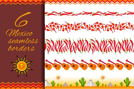 Seamless Mexican pattern border set isolated on white background. Cinco de Mayo decoration garland collection for your holiday design. Vector illustration Stok Fotoğraf - 129040382