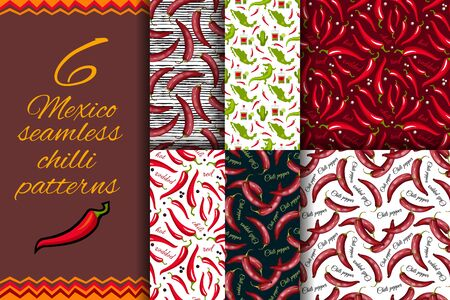 Mexican Red hot chili peppers seamless pattern. Spices endless background. Can be used for kitchen design, wrapping paper and wallpaper. Vector illustration for Cinco de Mayo background 向量圖像