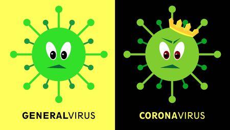 General virus and coronavirus flat icons. Cute cartoon green viruses with faces. Alien monsters smile emoji. Vector illustration 向量圖像