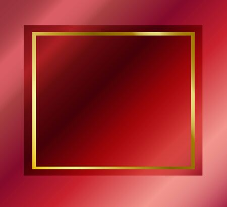 Red abstract elegant mesh luxury background with gold line frame for Valentines Day. Vector illustration for love concept