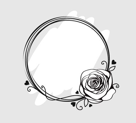 Line circle frame with monochrome rose, swirls and silhouette hearts. Elegant abstract round border for Valentines day. Abstract background for greeting card. Vector illustration