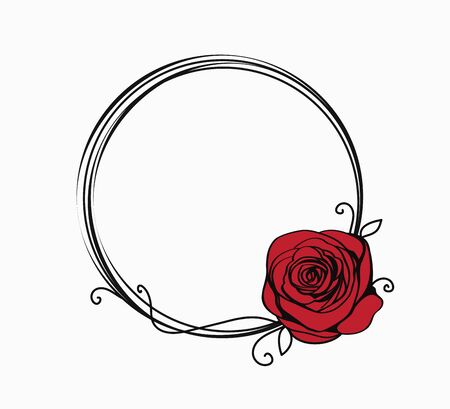 Line circle frame with red rose and swirls. Elegant abstract border for Valentines day. Abstract background for greeting card. Vector illustration