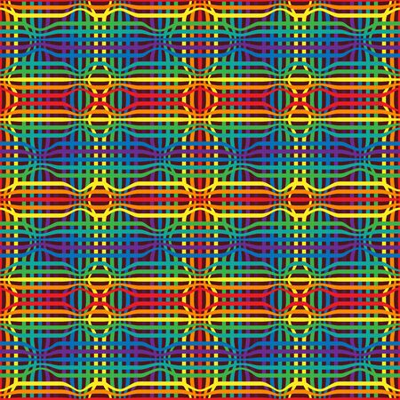 Abstract geometry rainbow seamless pattern from color lines. Bright graphic ruled modern tartan texture background. illustration for your modern print
