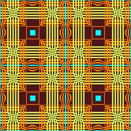 Abstract geometry tribal seamless pattern with blue squares. Ethnic graphic ruled modern ornate texture background. illustration for your modern print 向量圖像