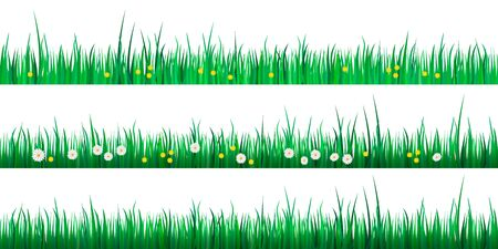 Set of green grass borders isolated on white background. Vector illustration for spring or summer design. Decoration for Easter greeting card or banner 向量圖像