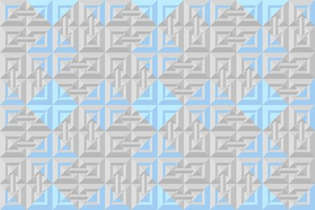Grey and blue 3d seamless pattern for geometry design. Abstract background  vector illustration for origami style