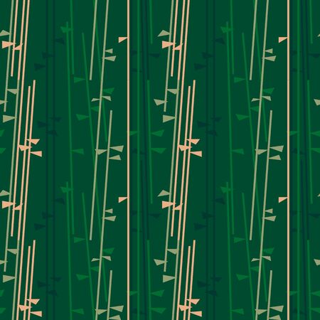 Green summer seamless pattern with bamboo brunches on dark green background. Vector illustration for spring or summer nature design