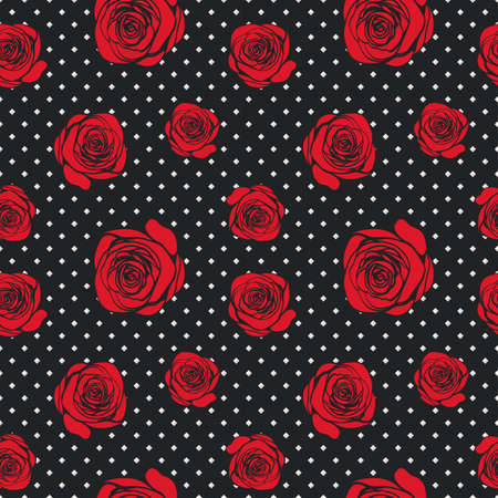 Dark abstract seamless pattern with red roses on geometric black background. Vector illustration for your modern design. Good for stylish woman print