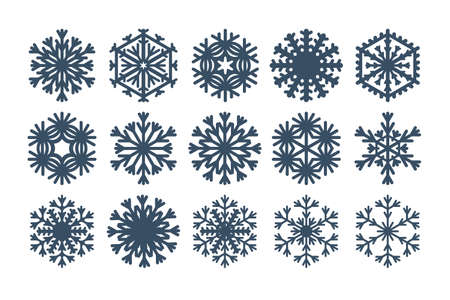 Snowflakes icons set. Black snow element silhouettes isolated on white background / vector illustration for your winter design Çizim