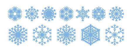 Elegant snowflakes collection for Christmas design. Blue snow icons isolated on white background. Vector illustration of winter holiday flat graphic elements