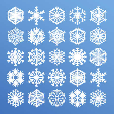 Big snowflakes collection for Christmas design. White snow icons isolated on blue winter background. Vector illustration of winter holiday flat graphic elements