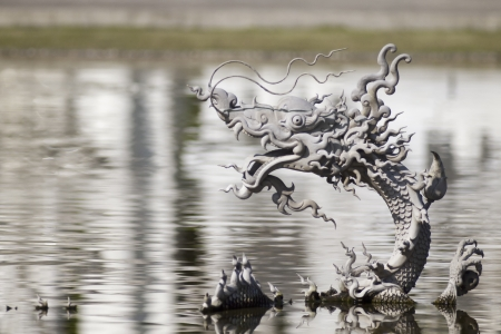 Chinese  dragon model in water