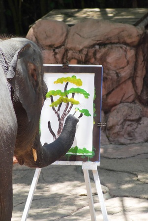 Elephant thai  talented show painting flower.