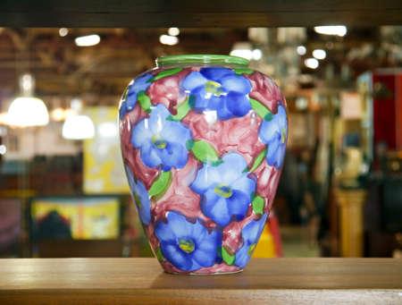 Vase flower on the shelves. photo