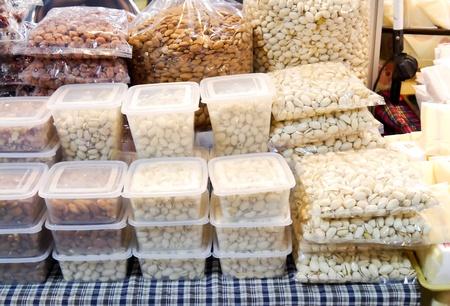 Pistachio nut on shelf in market.