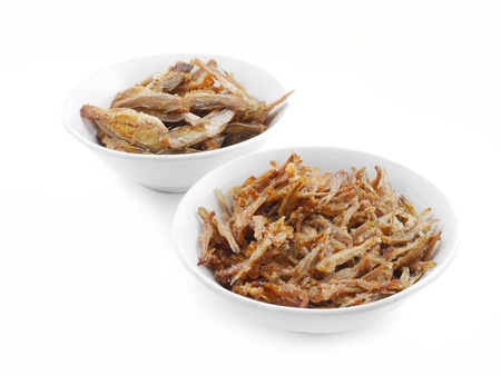 pond smelt:  Salted fish and sugar fish thai food isolate.