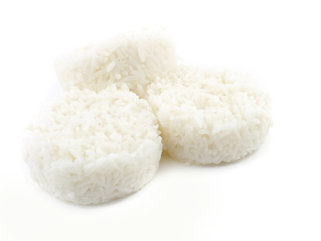 Thai white rice layer isolate.