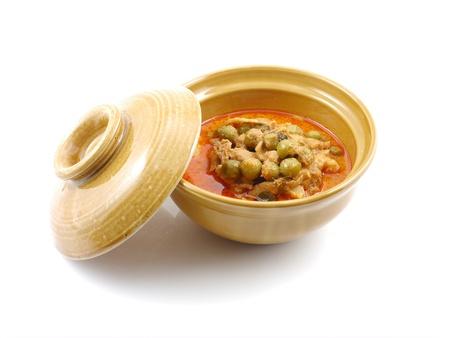 curry bowl: Thai pork curry bowl isolate.
