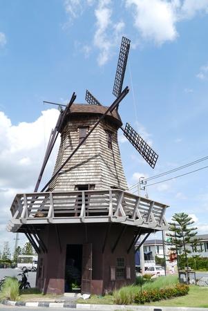 Windmills on summer cloud blue sky. photo