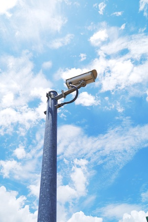 detects: Security camera detects  blue sky background