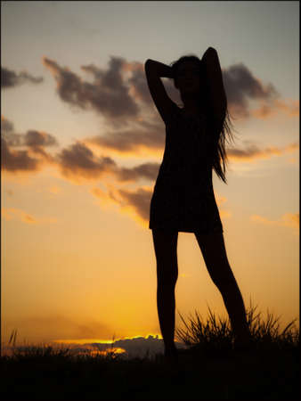 Women silhouette twilight art background. photo