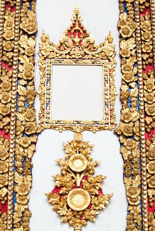 Gold frame thai style on white background. photo