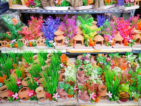 Colorful furniture water plants for fish tank. Stock Photo - 24840460
