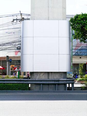 Banner on skytrain pole bangkok. Stock Photo - 24845057