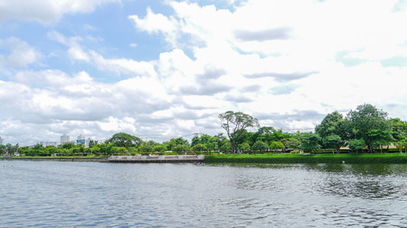 View of lakeside park Thailand. photo
