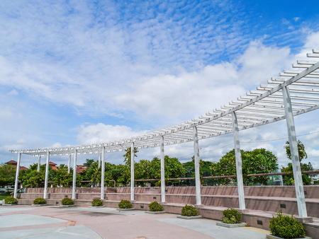 latticework: White trellis  in park Thailand.