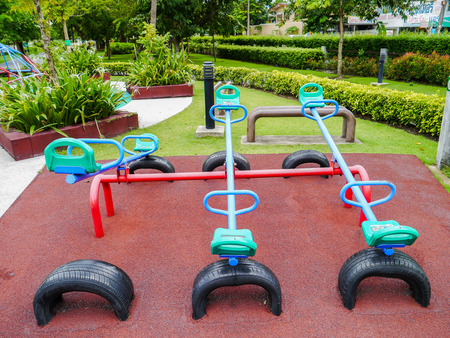 Old playground in park Thailand. Stock Photo