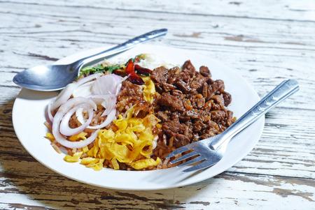 Rice Mixed with Shrimp paste thai food . Stock Photo