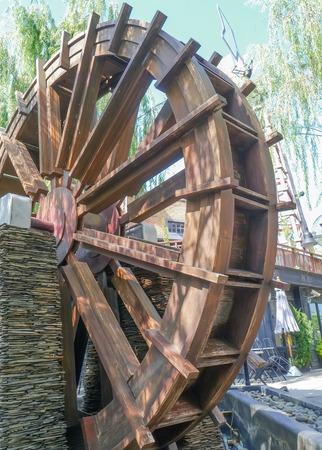 water turbine: water turbine wood. Stock Photo