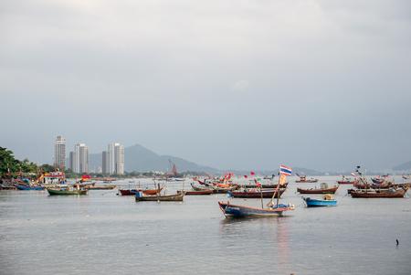 shrimp boat: Fish boats bay in thailand.