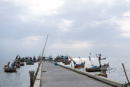 shrimp boat: Fish boats bay in thailand.