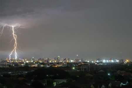 dark sky: Sky line lightning at night in city Thailand Stock Photo