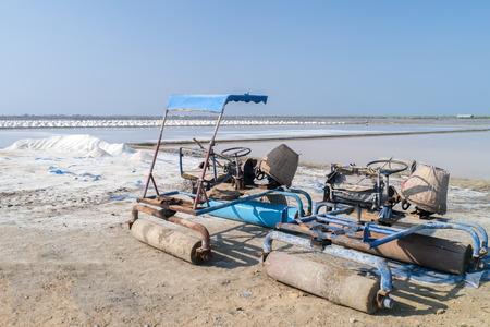Car for make salt farm in Thailand. Stock Photo