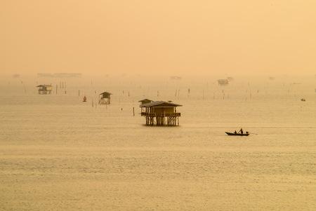 Morning at Bangtaboon bay fisherman village Thailand.