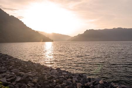 Twilight nature dam Thailand. Stock Photo